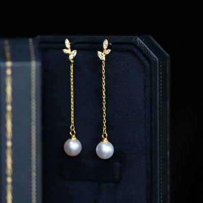 Diki正韓專櫃新飾品私人訂製系列 林志玲婚禮同款 14k注金天然珍珠鋯石靈動優雅耳釘