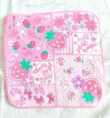Osmileooo-粉紅草莓可愛卡通純棉毛巾 手巾仔 兒童手帕 20×20cm