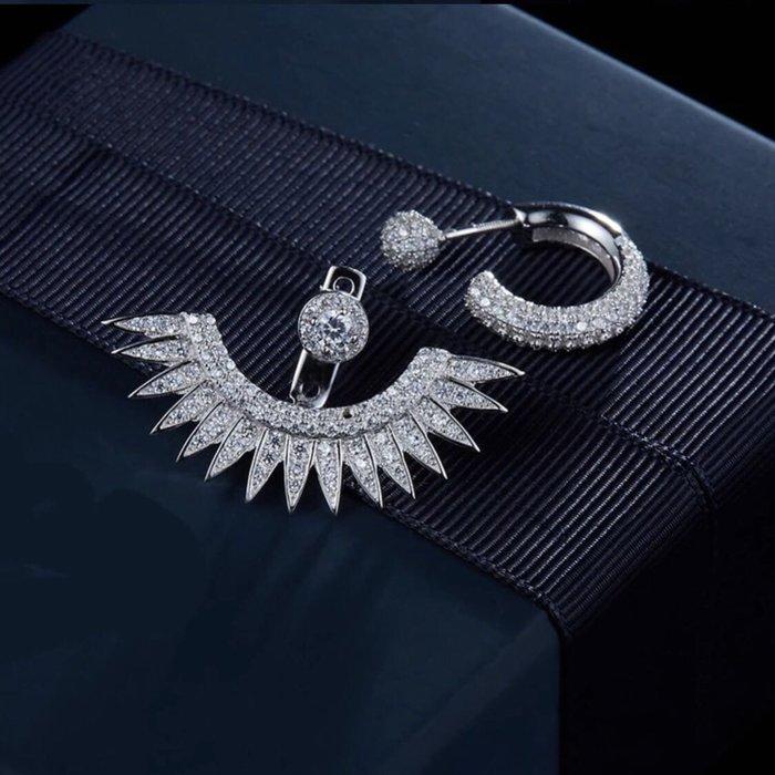 💎972、仙氣飄逸天使羽毛輕奢耳環(兩戴式,可拿下扇型羽毛)💎 Hermes Dior 正韓耳環 EC032