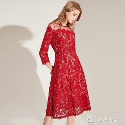 YEAHSHOP 長禮服 晚宴禮服女紅色高貴蕾絲氣質宴會派對禮服裙799838Y185