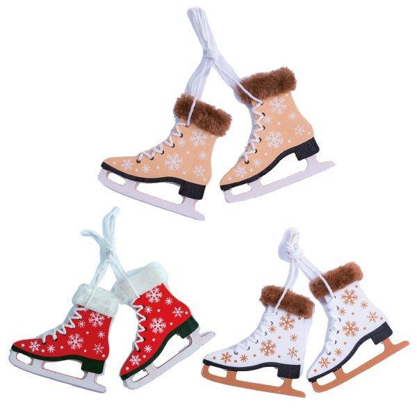 節慶王【X018021】木製靴子吊飾(3款-隨機出貨),聖誕節/掛飾/木製/手作/吊飾/裝飾/擺飾/交換禮物/道具
