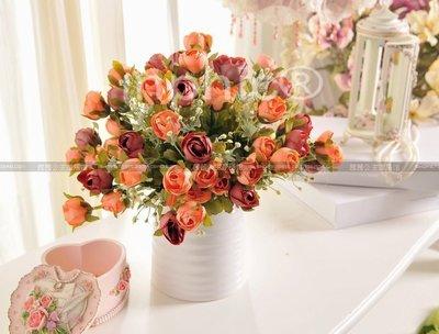 INPHIC-田園仿真花套裝餐桌擺設陶瓷花器假花裝飾花藝花插暗香玫瑰