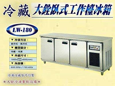 *大銓冷凍餐飲設備*【全新】6尺冷藏工...