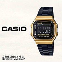 CASIO 復古方形經典 電子錶 黑x金 A168WEGB-1BDF
