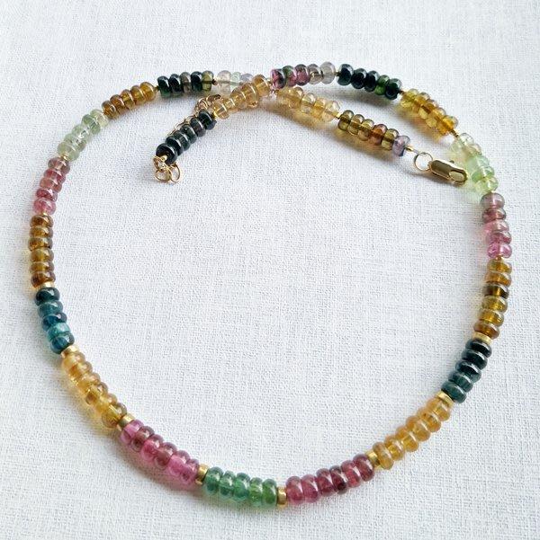 ☆采鑫天然寶石~鮮彩~ 頂級糖果色碧璽(電氣石) 項鍊~優雅盤珠款