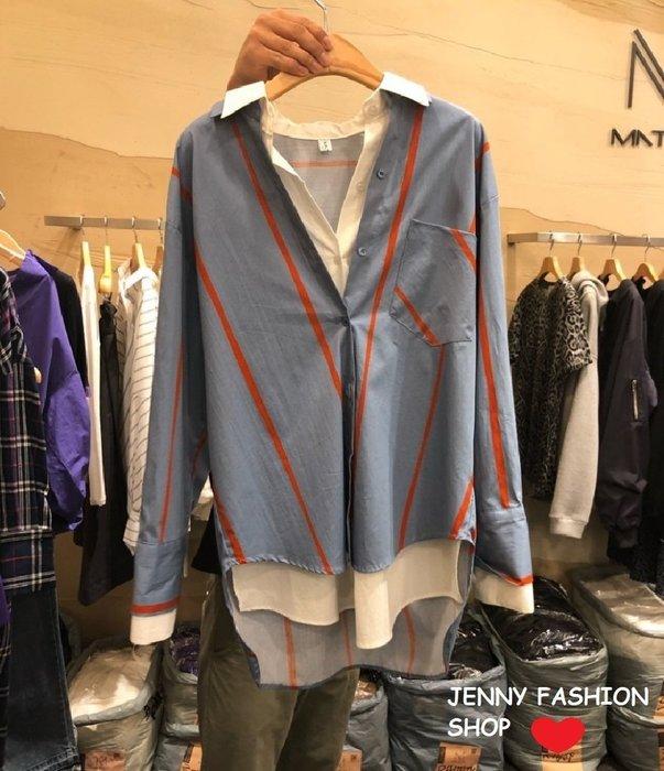 ∴?☆ 【Jenny Shop】☆*∴ 韓國連線 正韓~實拍前短後長假兩件條紋襯衫-淺藍現貨【107E3593】