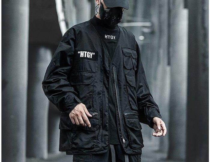 FINDSENSE X 男士 工裝外套男士潮流寬松多口袋夾克外套