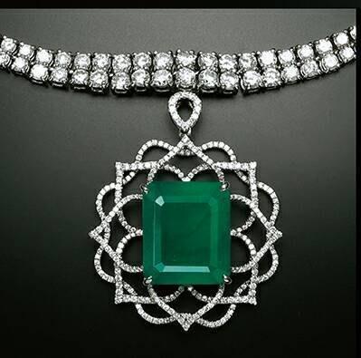 天然切割型祖母綠21.87克拉天然鑽石...