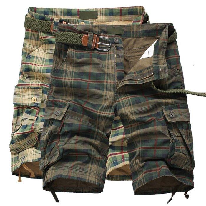 寬管褲 短褲 直筒褲 工裝短褲男士五分褲多口袋潮流休閒中褲寬松迷彩大碼格子馬褲
