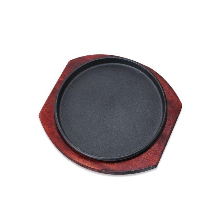烤盤 頂力加厚圓形商用西餐鐵板燒盤家用牛排鐵板鍋韓式鑄鐵燒烤肉盤 【花開物語】wy