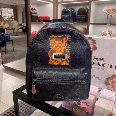 COACH 76656 新款Vandal Gummy暴力熊圖案全牛皮中號雙肩背包 後背包 附購買憑證