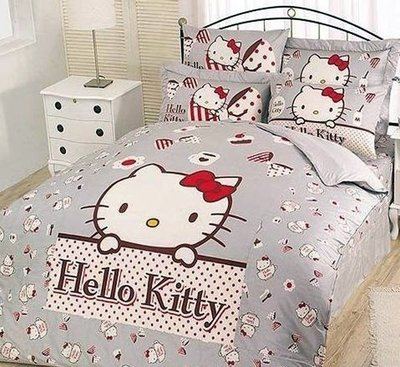 §同床共枕§  HelloKitty 100%精梳純棉  單人3.5x6.2尺 床罩兩用被套四件組-時尚茶點 灰