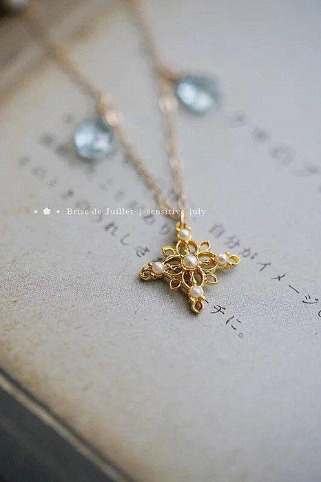 FJ06-法式手工輕珠寶-精緻簍空珍珠花片托帕石項鍊   agete風格