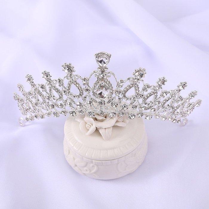 兒童皇冠水滴鑲水鉆公主頭飾女童生日影樓演出王冠兒童發飾發箍