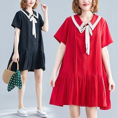 [K-5599]娃娃領蝴蝶結寬鬆百摺連衣裙