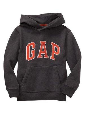 【Gap】男生 男童基本款 GAP Logo 棉質刷毛長袖連帽上衣 長袖T桖 帽T 連帽外套 深灰色