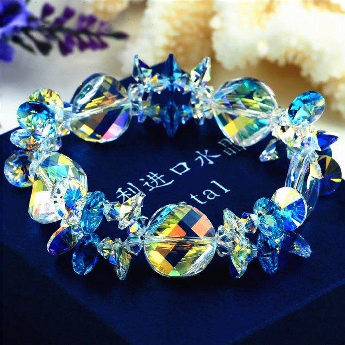 采用水晶純手工編織波西米亞多層藍色水晶手鏈 新麗小舖