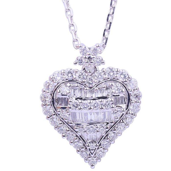18K金1.15克拉心形鑽石項鍊