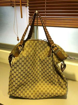 Gucci 提花布編織皮手把 肩背包 大背包。媽媽包