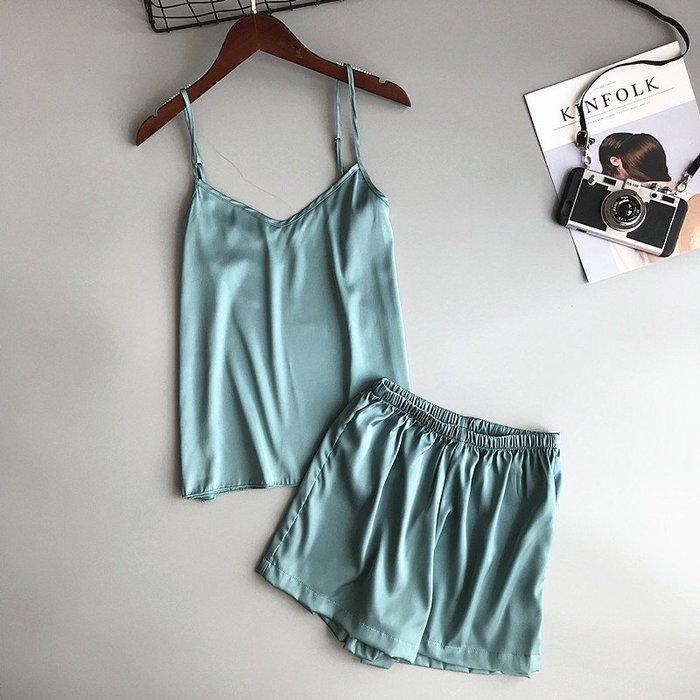 廠家~最低價冰絲兩件套韓版純色寬松性感家居吊帶睡衣女夏季背心短褲套裝薄款