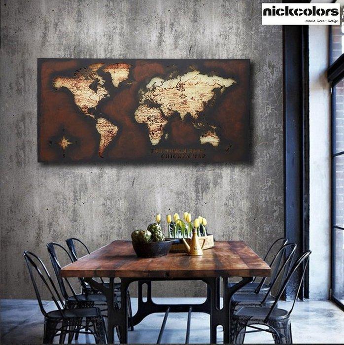 尼克卡樂斯~世界地圖鐵製大型壁掛飾 手工鐵藝 LOFT工業風 壁掛壁飾樣品屋 裝飾品 客廳 民宿餐廳開店裝潢 牆飾裝飾畫