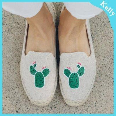 Kelly代購* Soludos 19年新款【厚底款。卡登仙人掌刺繡 】沙漠生活草編麻編帆布鞋