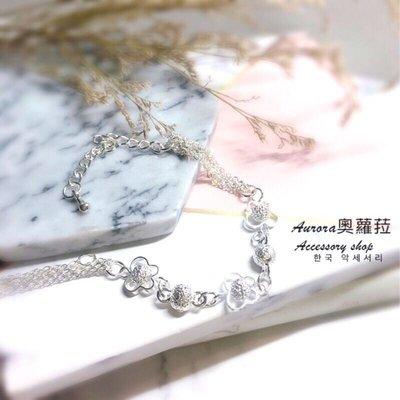 韓國蝴蝶球球O字鏈手鍊《奧蘿菈Aurora韓國飾品》附不織布收納袋拭銀布