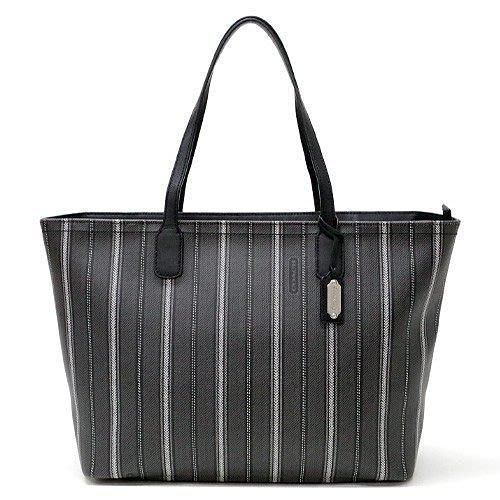 Coco小舖 COACH 23103 LEGACY WEEKEND TICKING STRIPE PVC LARGE