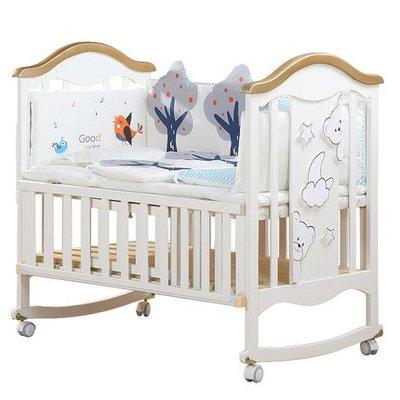 [小床台灣現貨附發票]歐式多功能 實木嬰兒床 白色嬰兒床   搖籃 嬰兒床 拼接大床  可變書桌 三檔調節 歐式嬰兒床
