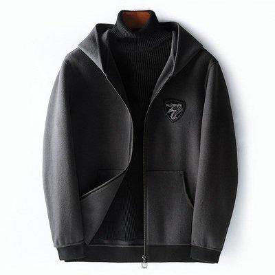 毛呢大衣 短款夾克-秋冬連帽休閒純色男外套4色73wk36[獨家進口][米蘭精品]