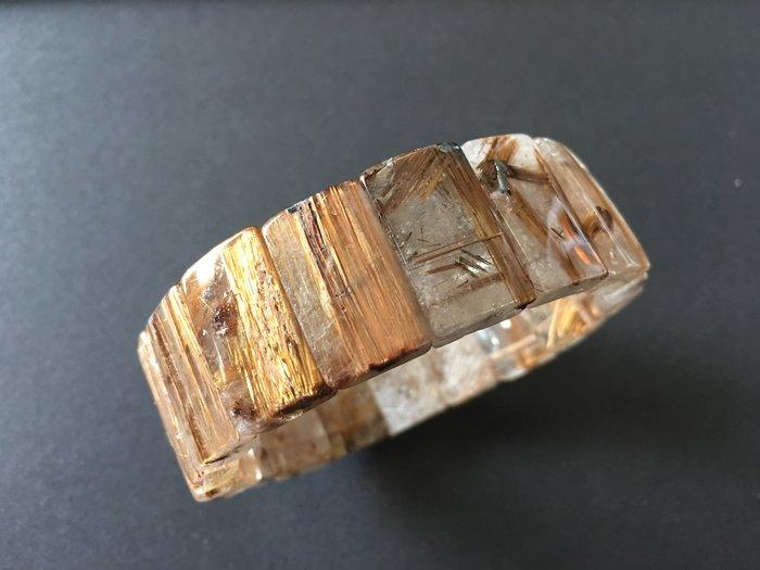 *藏雅軒*能量珠寶水晶之王-帶母礦紅銅鈦鈦晶手排-69g