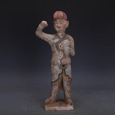 【三顧茅廬】唐代手工彩陶雕塑男俑古代人俑陶器 出土文物古瓷器古玩古董收藏