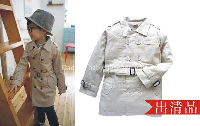 【達搭ㄅㄨˊ寶貝屋】D1855韓版中性風衣雙排扣長版風衣外套 帥氣 紳士  外搭 外套~出清最後2件