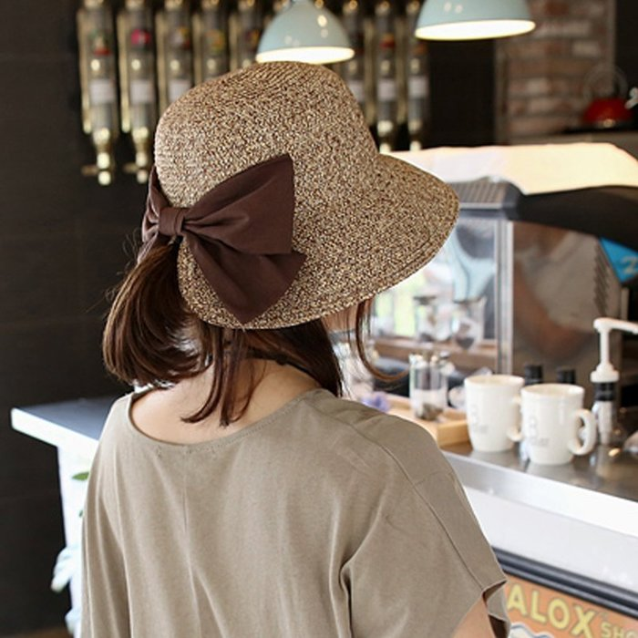 帽子完_日本防曬帽遮陽帽綁馬尾可使用藤編蝴蝶結日本帽子可折疊