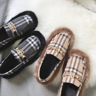 Sarah  2018新款豆豆鞋女淺口平底chic單鞋毛毛懶人圓頭一腳蹬復古丑萌鞋