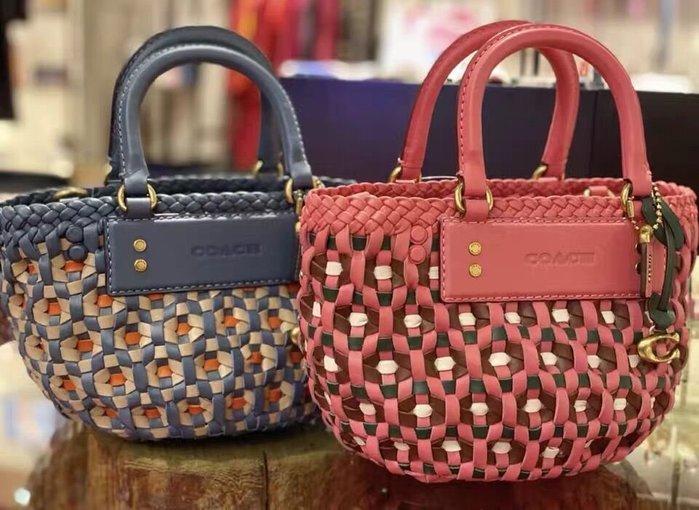 小皮美國代購 COACH 603 新款女士編織菜籃包 手提包 單肩包 可斜挎 款式獨特 附購證