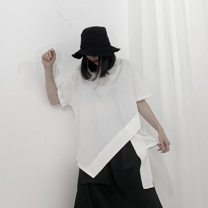 ||一品著衣|| 山本風暗黑系小眾設計師自制yohji百搭不規則圓領T恤 YM