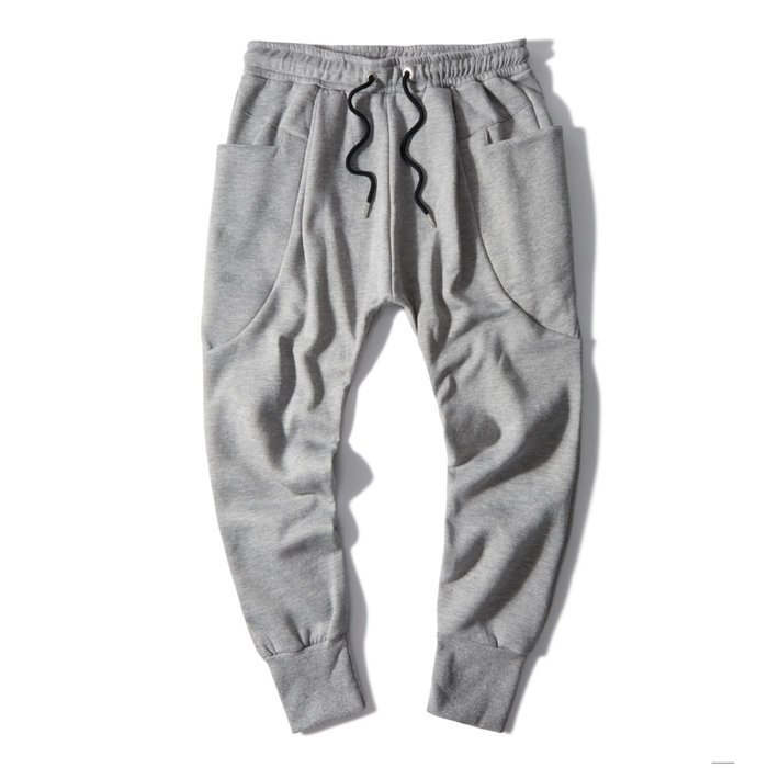 ZEBRA-【FBG3156】素面 2色大口袋 飛鼠褲 綁帶 縮口 運動 刷毛 棉褲 休閒長褲 M/XL 特價480 元