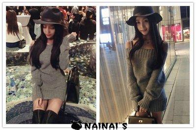 【NAINAIS】OR 3021 韓版 一字領露肩長款針織毛衣洋裝 預