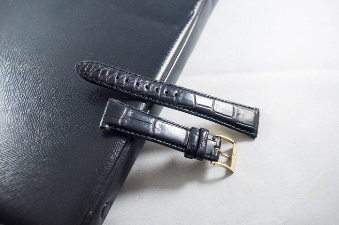 日本進口,高級手工真鱷魚皮錶帶,黑色,手工Handmade,18mm