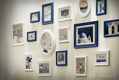 【 輕工業 】藍白地中海16框實木相片牆 -橢圓方框壁掛 照片相框餐廳客廳臥室 原木裝潢復古北 IKEA風