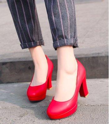 Pyf ♥ 圓頭超穩粗跟 素面黑色工作鞋 防水台高跟鞋 上班鞋包鞋 皮面素色 CD/TS 加大 46 大尺碼女鞋