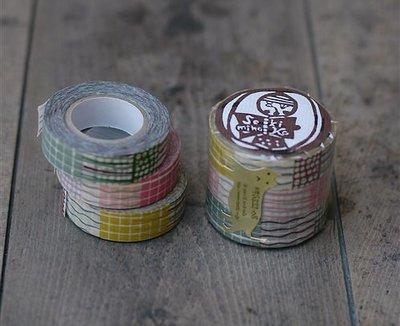 《散步生活雜貨-和紙膠帶系列》日本進口 關美穗子 條紋格子水珠 紙膠帶3捲一組(45322-08)