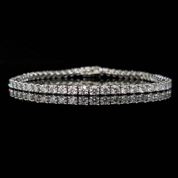 送禮禮品 天然鑽石全鑽帶手鍊 鑽石每顆6.3分58顆共3.69克拉 8心8箭 750K金四爪鍊台 大眾當舖 編號5920