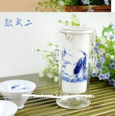 耐熱玻璃陶瓷內膽蘭彩青花蓋碗茶備《紅茶沖泡器》【4組】