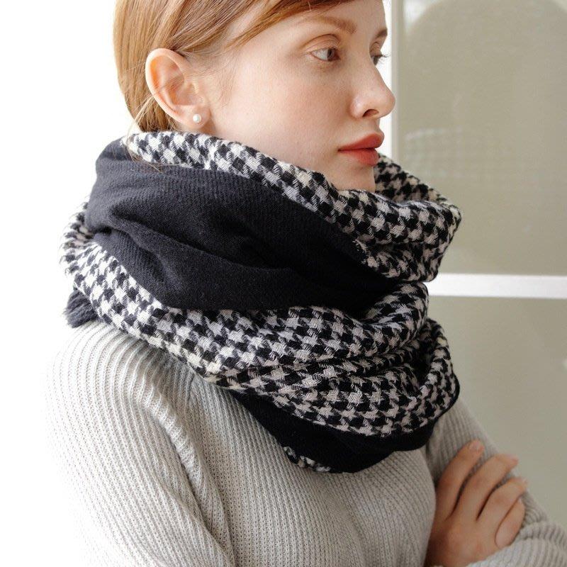羊毛披肩 長 圍巾-黑白千鳥格拼接經典女配件73wq23[獨家進口][米蘭精品]