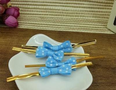 ☆小寶愛烘焙☆立體蝴蝶結 包裝 封口條 甜點 結婚小禮 封口鐵絲 紮絲 束帶 紮線-藍色點點