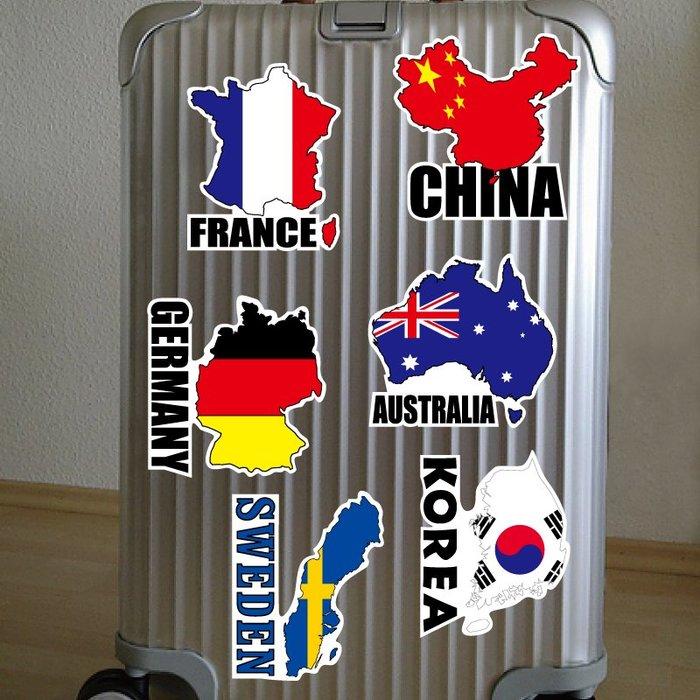 地圖款防水貼紙。法國、德國、荷蘭、日本、南非、澳門。共6張