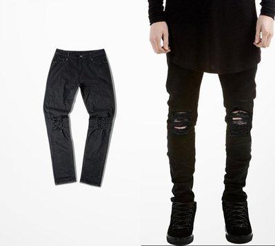 ∵ PRAY FOR FASHION ∴破洞牛仔褲Destroyed Denim Jeans 休閒水洗破壞彈力牛仔褲