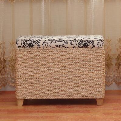 【優上】宜家草編多功能收納凳儲物凳子換鞋凳中式沙發凳「原色高長方款」